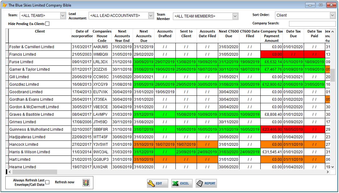 Screenshot of The Blue Skies Partnership custom database